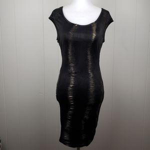 2B BEBE Bodycon Party Dress Black and Gold Small